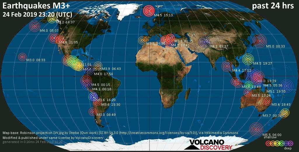 Earthquake report world-wide for Sunday, 24 Feb 2019 / VolcanoDiscovery