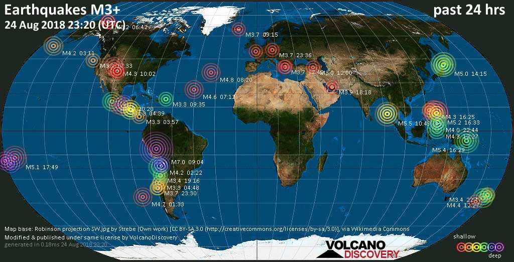 Earthquake report world wide for friday 24 aug 2018 volcanodiscovery world map showing earthquakes above magnitude 3 during the past 24 hours on 24 aug 2018 gumiabroncs Image collections