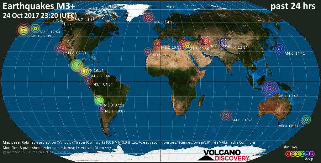 World map showing earthquakes above magnitude 3 during the past 24 hours on 24 Oct 2017