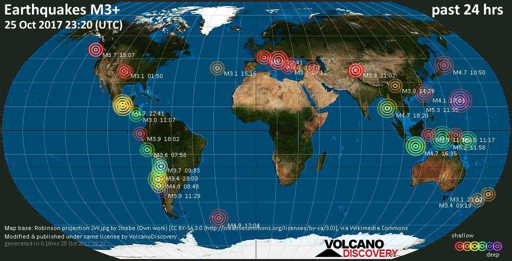 World map showing earthquakes above magnitude 3 during the past 24 hours on 25 Oct 2017