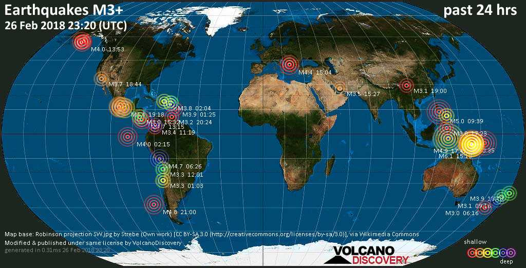 World map showing earthquakes above magnitude 3 during the past 24 hours on 26 Feb 2018