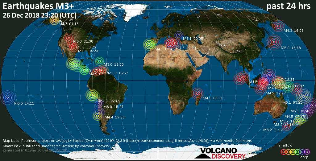earthquake report world wide for wednesday 26 dec 2018