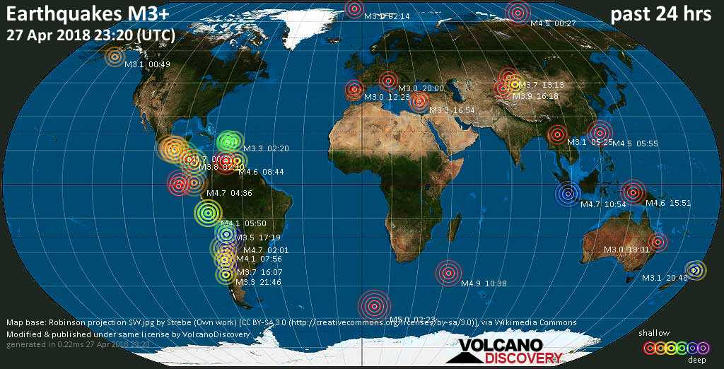 World map showing earthquakes above magnitude 3 during the past 24 hours on 27 Apr 2018