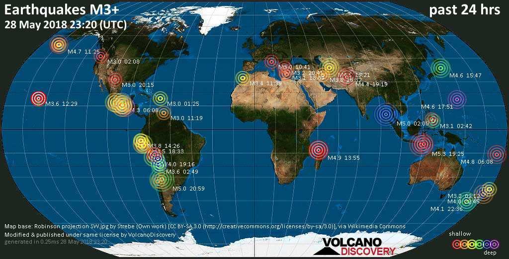 Earthquake Report World Wide For Monday 28 May 2018 Volcanodiscovery