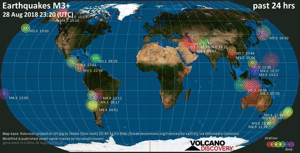 Earthquake report world wide for tuesday 28 aug 2018 volcanodiscovery world map showing earthquakes above magnitude 3 during the past 24 hours on 28 aug 2018 gumiabroncs Images