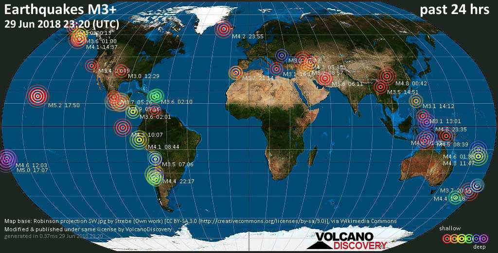 Earthquake report world wide for friday 29 jun 2018 volcanodiscovery world map showing earthquakes above magnitude 3 during the past 24 hours on 29 jun 2018 gumiabroncs Choice Image