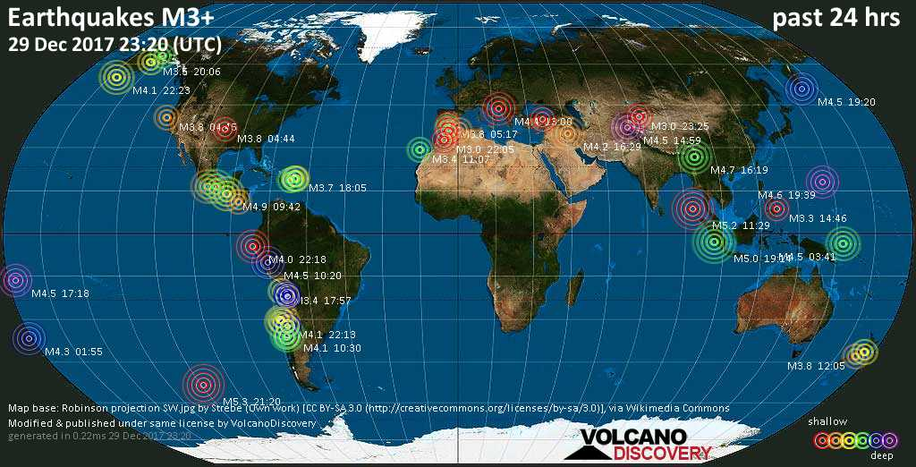 world map showing earthquakes above magnitude 3 during the past 24 hours on 29 dec 2017