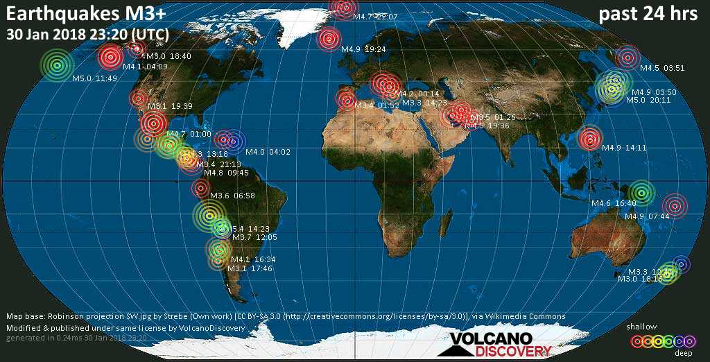 Earthquake report world wide for tuesday 30 jan 2018 volcanodiscovery world map showing earthquakes above magnitude 3 during the past 24 hours on 30 jan 2018 gumiabroncs Choice Image