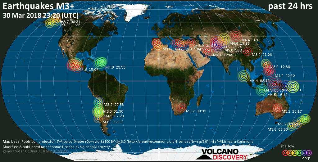 Earthquake report world wide for friday 30 mar 2018 volcanodiscovery world map showing earthquakes above magnitude 3 during the past 24 hours on 30 mar 2018 gumiabroncs Gallery