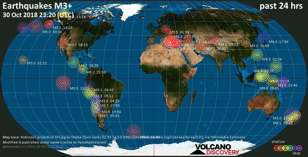 World map showing earthquakes above magnitude 3 during the past 24 hours on 30 Oct 2018