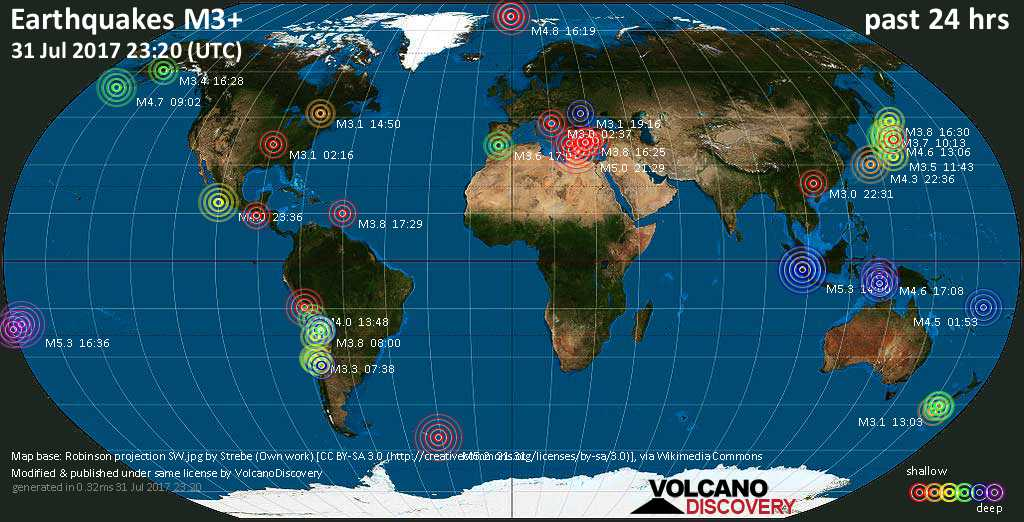 World map showing earthquakes above magnitude 3 during the past 24 hours on 31 Jul 2017