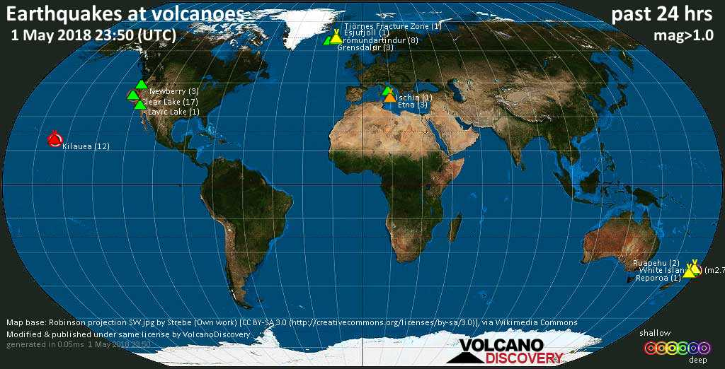 World map showing volcanoes with shallow (less than 20 km) earthquakes within 20 km radius  during the past 24 hours on  1 May 2018 Number in brackets indicate nr of quakes.