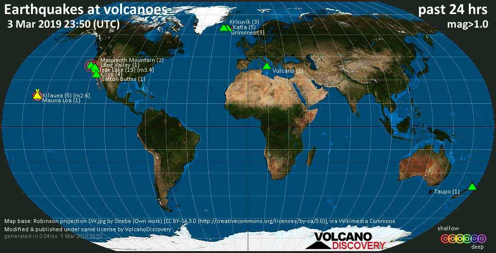 World map showing volcanoes with shallow (less than 20 km) earthquakes within 20 km radius  during the past 24 hours on  3 Mar 2019 Number in brackets indicate nr of quakes.