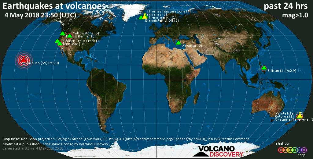 World map showing volcanoes with shallow (less than 20 km) earthquakes within 20 km radius  during the past 24 hours on  4 May 2018 Number in brackets indicate nr of quakes.