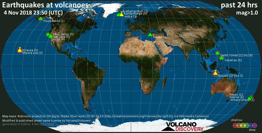 World map showing volcanoes with shallow (less than 20 km) earthquakes within 20 km radius  during the past 24 hours on  4 Nov 2018 Number in brackets indicate nr of quakes.