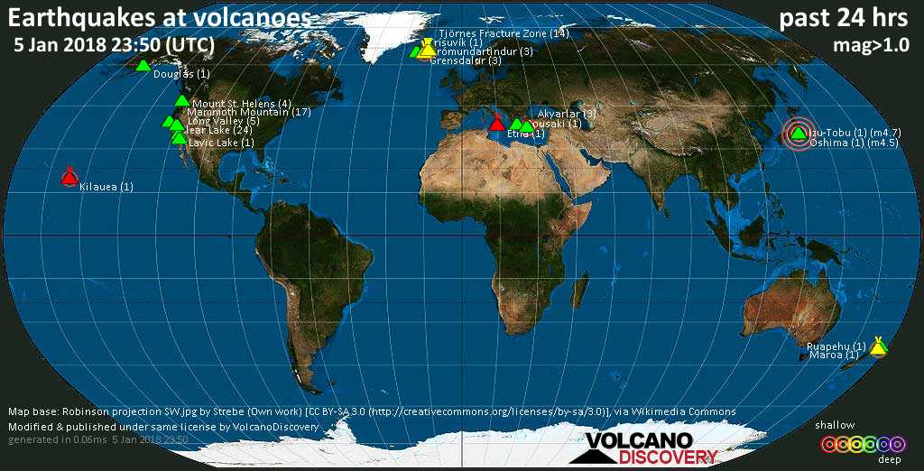 World map showing volcanoes with shallow (less than 20 km) earthquakes within 20 km radius  during the past 24 hours on  5 Jan 2018 Number in brackets indicate nr of quakes.