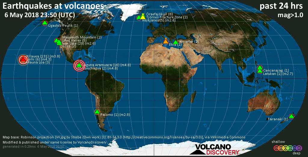World map showing volcanoes with shallow (less than 20 km) earthquakes within 20 km radius  during the past 24 hours on  6 May 2018 Number in brackets indicate nr of quakes.