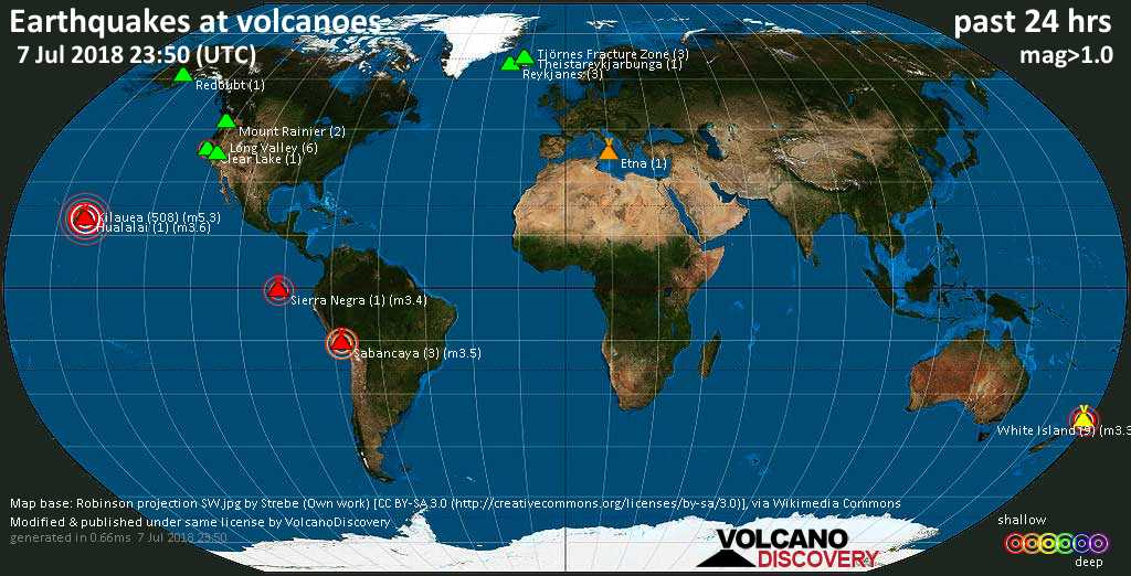 World map showing volcanoes with shallow (less than 20 km) earthquakes within 20 km radius  during the past 24 hours on  7 Jul 2018 Number in brackets indicate nr of quakes.