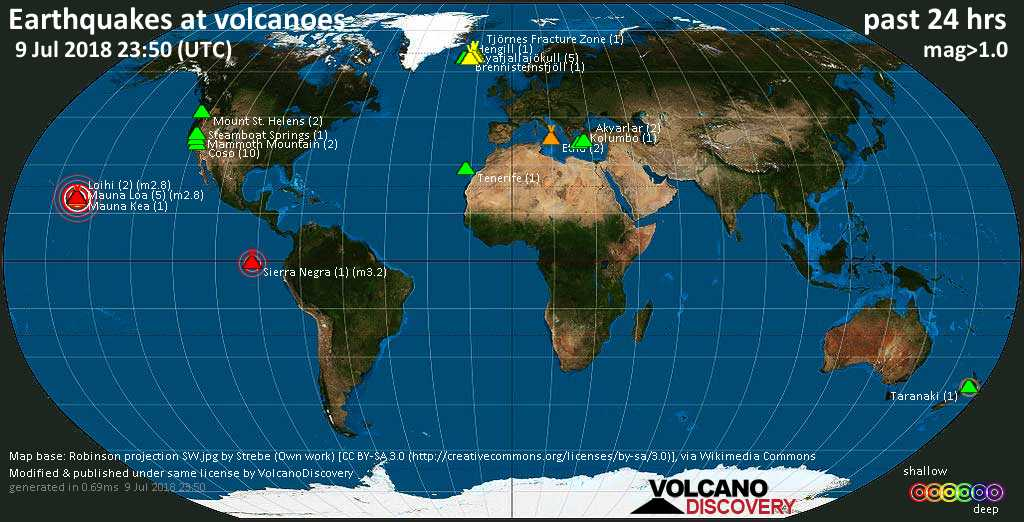 World map showing volcanoes with shallow (less than 20 km) earthquakes within 20 km radius  during the past 24 hours on  9 Jul 2018 Number in brackets indicate nr of quakes.