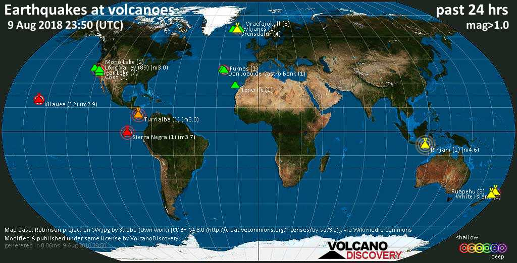 World map showing volcanoes with shallow (less than 20 km) earthquakes within 20 km radius  during the past 24 hours on  9 Aug 2018 Number in brackets indicate nr of quakes.