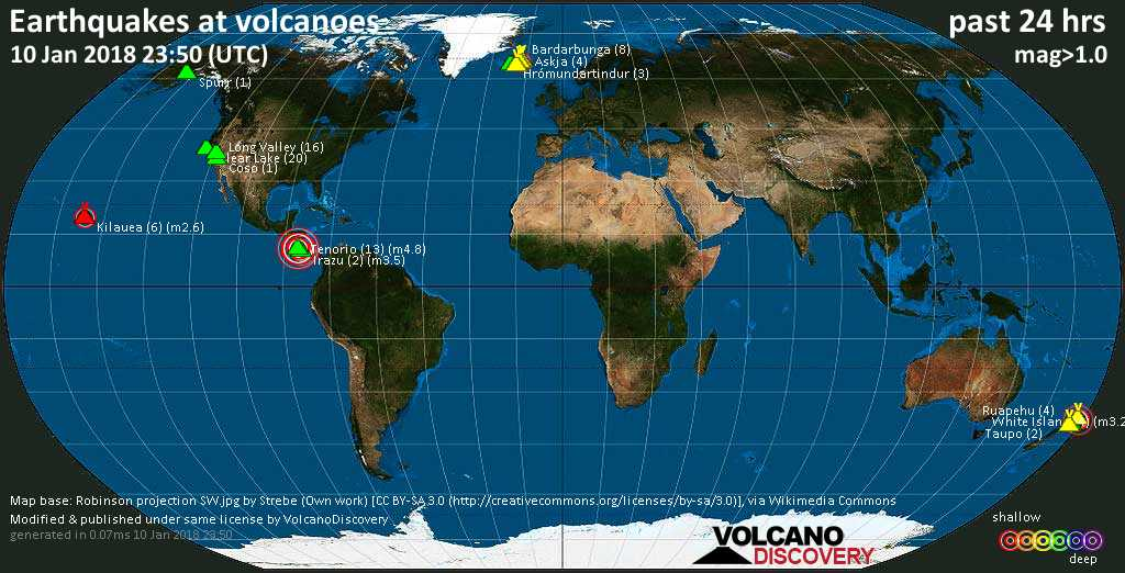 World map showing volcanoes with shallow (less than 20 km) earthquakes within 20 km radius  during the past 24 hours on 10 Jan 2018 Number in brackets indicate nr of quakes.