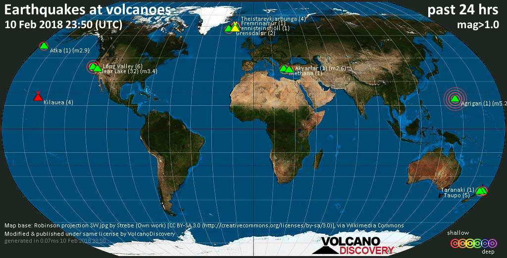 World map showing volcanoes with shallow (less than 20 km) earthquakes within 20 km radius  during the past 24 hours on 10 Feb 2018 Number in brackets indicate nr of quakes.