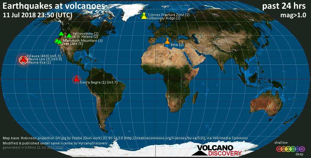 World map showing volcanoes with shallow (less than 20 km) earthquakes within 20 km radius  during the past 24 hours on 11 Jul 2018 Number in brackets indicate nr of quakes.