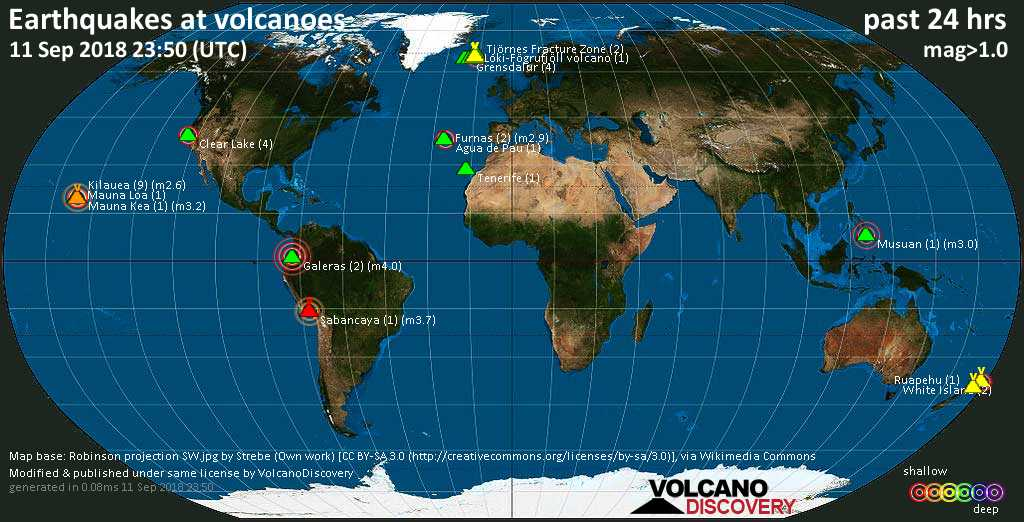 World map showing volcanoes with shallow (less than 20 km) earthquakes within 20 km radius  during the past 24 hours on 11 Sep 2018 Number in brackets indicate nr of quakes.