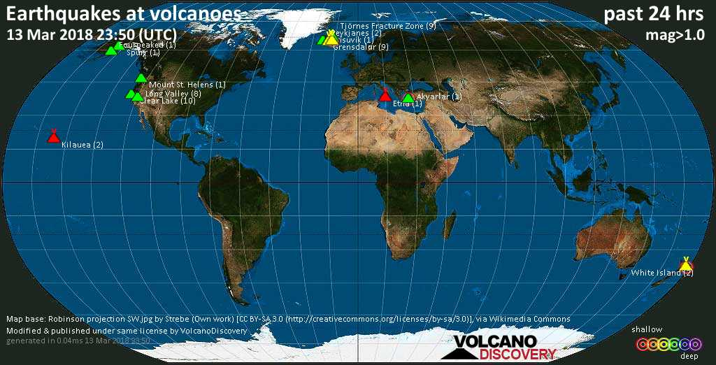World map showing volcanoes with shallow (less than 20 km) earthquakes within 20 km radius  during the past 24 hours on 13 Mar 2018 Number in brackets indicate nr of quakes.