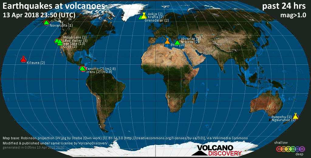 World map showing volcanoes with shallow (less than 20 km) earthquakes within 20 km radius  during the past 24 hours on 13 Apr 2018 Number in brackets indicate nr of quakes.