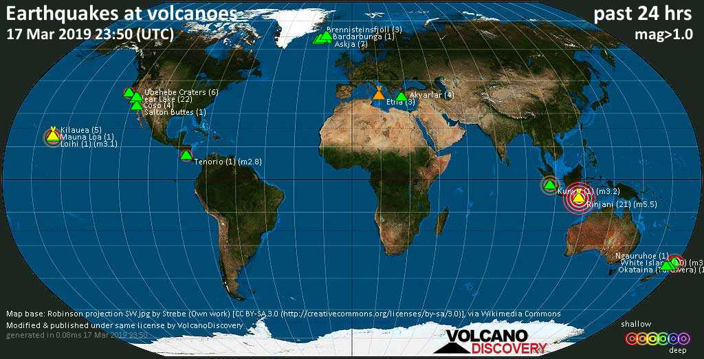 World map showing volcanoes with shallow (less than 20 km) earthquakes within 20 km radius  during the past 24 hours on 17 Mar 2019 Number in brackets indicate nr of quakes.