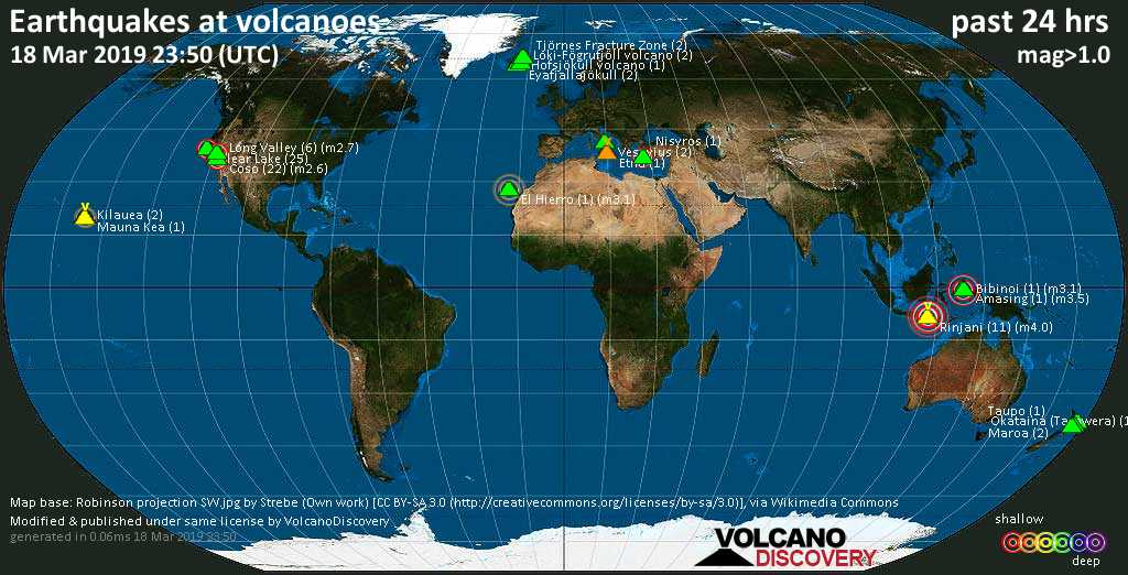 World map showing volcanoes with shallow (less than 20 km) earthquakes within 20 km radius  during the past 24 hours on 18 Mar 2019 Number in brackets indicate nr of quakes.