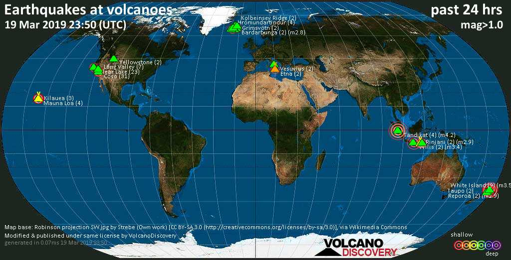 World map showing volcanoes with shallow (less than 20 km) earthquakes within 20 km radius  during the past 24 hours on 19 Mar 2019 Number in brackets indicate nr of quakes.