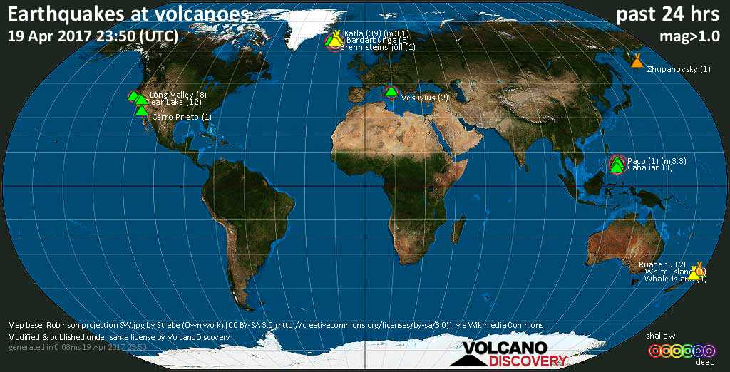 World map showing volcanoes with shallow (less than 20 km) earthquakes within 20 km radius  during the past 24 hours on 19 Apr 2017 Number in brackets indicate nr of quakes.