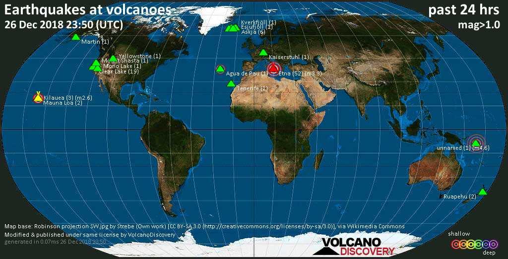 Volcano Earthquake Report For Wednesday 26 Dec 2018 Volcanodiscovery