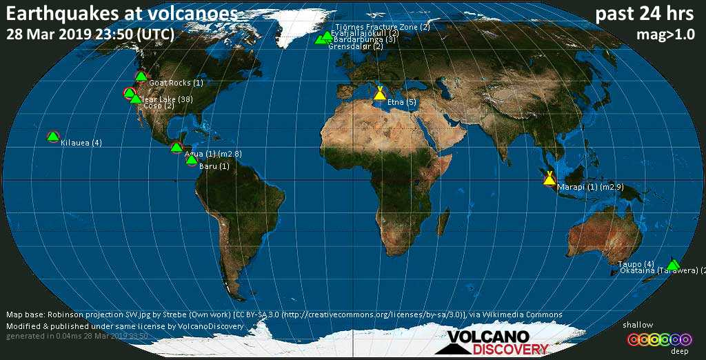 World map showing volcanoes with shallow (less than 20 km) earthquakes within 20 km radius  during the past 24 hours on 28 Mar 2019 Number in brackets indicate nr of quakes.
