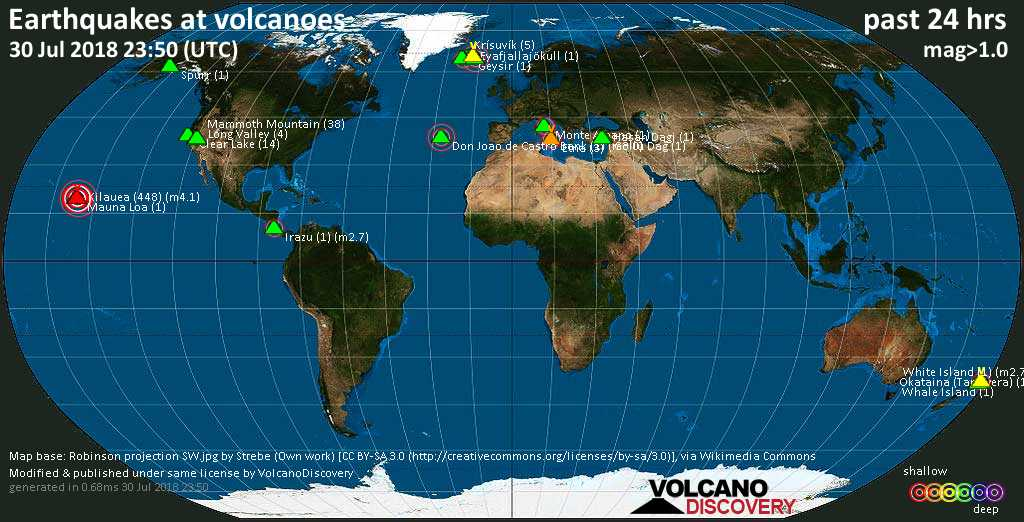 World map showing volcanoes with shallow (less than 20 km) earthquakes within 20 km radius  during the past 24 hours on 30 Jul 2018 Number in brackets indicate nr of quakes.