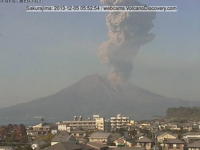 Vulcanian explosion from Sakurajima this morning (Tarumizu webcam)