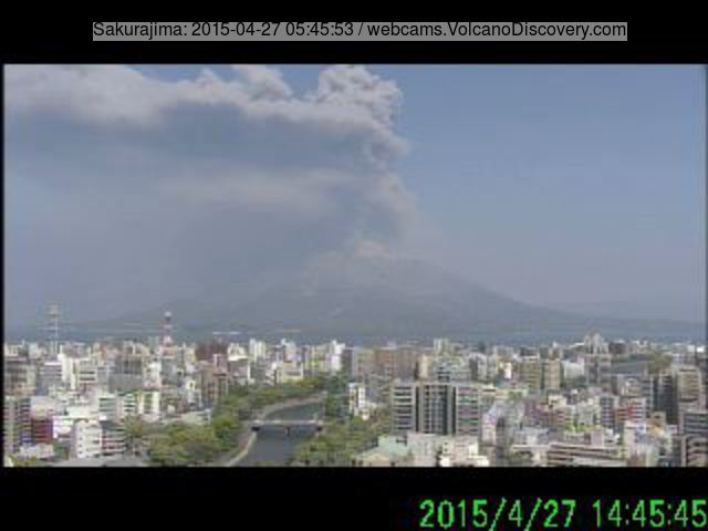 Ash plume from Sakurajima's explosion this morning