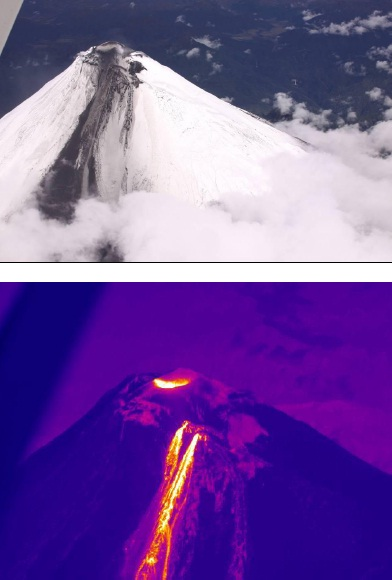 View of the upper SE flank of Sangay volcano and thermal image showing the various vents at the dome emitting lava flows that form several branches and reach the base of the summit cone (Photo: P. Ramón OVT/IG)