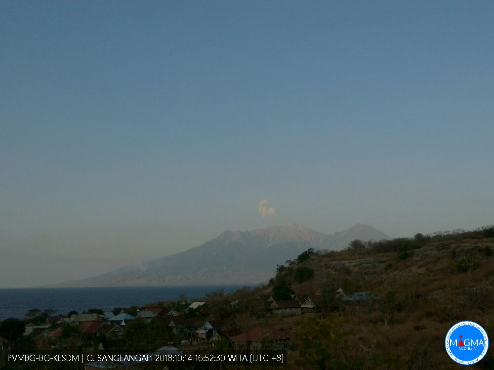 View of Sangeang Api this morning (evening local time). Credit: MAGMA Indonesia.