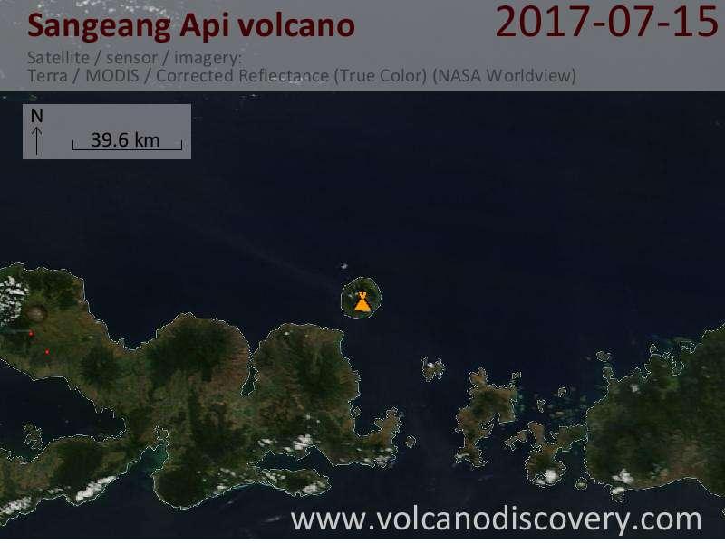 Satellite image of Sangeang Api volcano on 15 Jul 2017