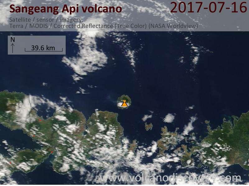 Satellite image of Sangeang Api volcano on 16 Jul 2017