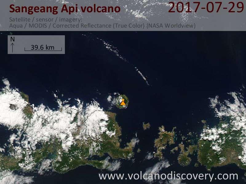 Satellite image of Sangeang Api volcano on 29 Jul 2017