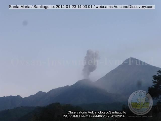 The Caliente lava dome of Santiaguito volcano on 23 Jan