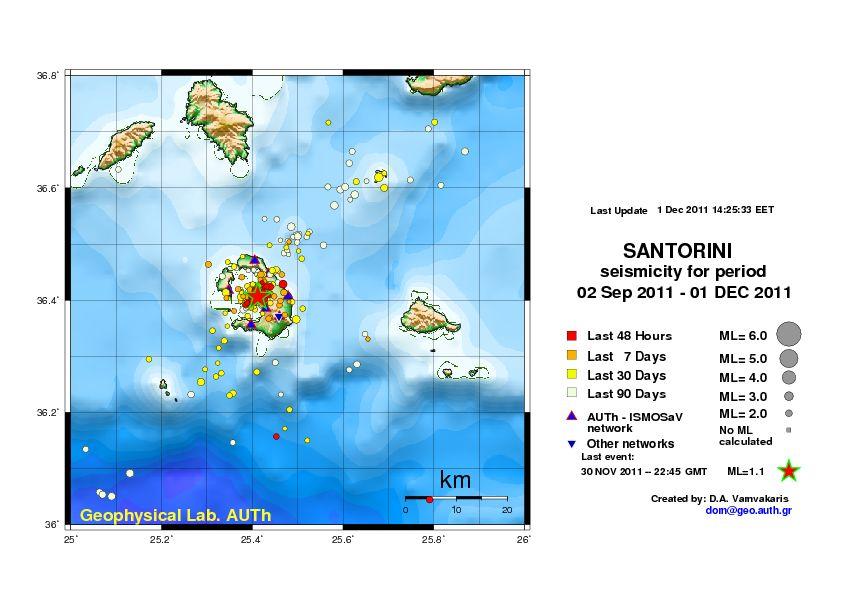 Earthquakes on Santorini between 2 Sep and 1 Dec , 2011 (source: Department of Geophysics, Aristoteles University of Thessaloniki)