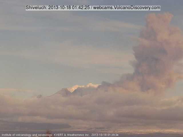 Ash explosion from SHiveluch this morning (KVERT webcam)