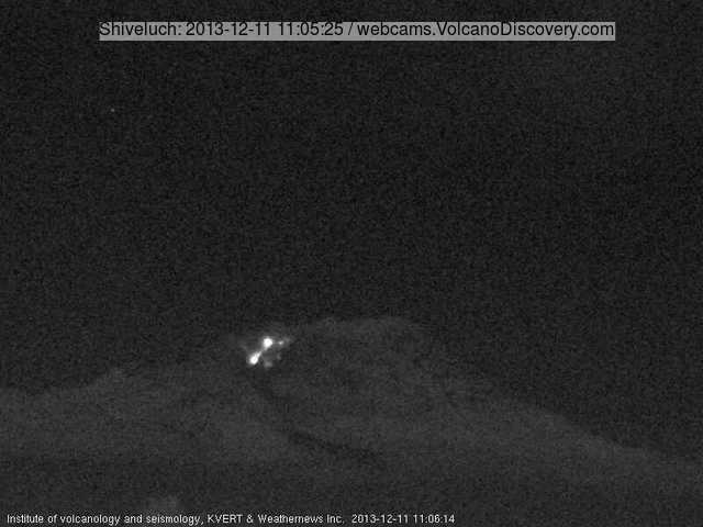 Glowing avalanche from Shiveluch's lava dome today (KVERT webcam)