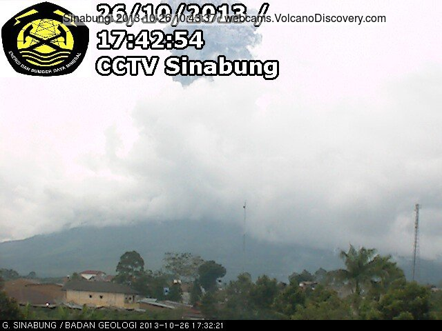 Ash explosion from Sinabung yesterday evening