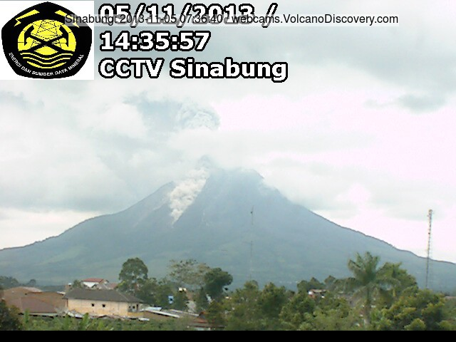 Eruption of Sinabung this aftenoon (VSI webcam)
